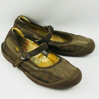 Womens 9.5 Keen Summer Golden MJ Mary Jane Shoes Brown Canvas Leather Buckle