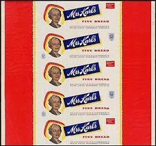Vintage bread wrapper MRS KARLS dated 1950 woman pictured Milwaukee Wisconsin