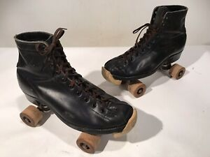 Vintage BETTY LYTLE HYDE Chicago Roller Skates Supreme Deluxe BLACK Mens Size 7