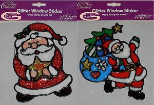 NEW GLITTER CHRISTMAS SANTA WINDOW XMAS STICKER GEL CLING GLASS ART DECORATION