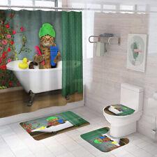 Bathing Cat Bathroom Rug Set Shower Curtain Non Slip Toilet Lid Cover Bath Mat