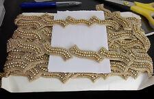 1m gold  CRYSTAL bead asian indian braid dance lace bridal wedding APPLIQUE