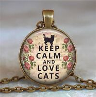 Keep Calm and Love Cats Photo Tibet Silver Cabochon Glass Pendant Necklace