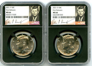 2021 P & D KENNEDY NGC MS66 HALF DOLLAR MATCHING 2 COIN SET FIRST RELEASES