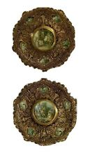 Pr Vintage 14� Solid Brass Repousse Figural Victorian style Wall Plaques Spain