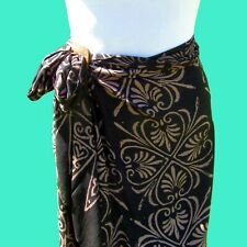 Black Hand Batik Sarong Pareo Wrap Full Size Rayon Beach Cover up FREE CLIP