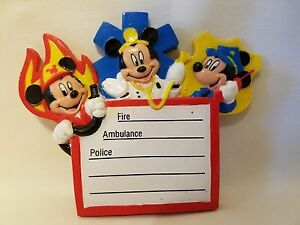 1995 Disney Mickey Mouse Emergency Phone Numbers Fire Police Refrigerator Magnet