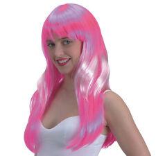 Perruque longue à frange couleur rose méchée de blanc deguisement carnaval fetes