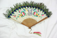 Antique Japanese Fan Hand-Painted Peacock Feathers 1800s Figural Flowers Vtg Old