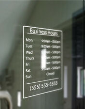"Custom Business Store Hours Sign Vinyl Decal Sticker 9"" X 12"" Window Door Glass"