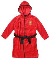 Boys Dressing Gown MANCHESTER UNITED MUFC Hooded Robe Man Utd 3 to 12 Years