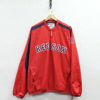 Boston Red Sox Majestic Windbreaker Jacket Size XL Red MLB 1/4 Zip Pullover