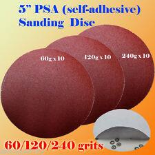 "30x 5"" PSA Self Adhesive 60/120/240  Grit Sand Disc Stick On Sandpaper Peel"