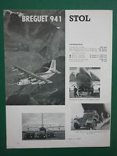 4/1962 PUB AVIATION LOUIS BREGUET 941 STOL JEEP PARACHUTISTES AML PANHARD AD