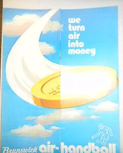 Vintage Brunswick Air-Handball Game Advertising Specs Sheet 1975 RARE FOLDOUT