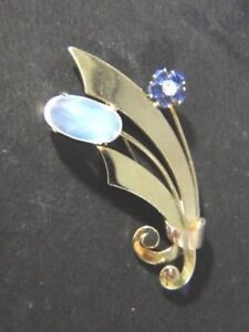Tiffany & Co 14K Retro Art Deco Moonstone Sapphire Diamond Flower Brooch Pin