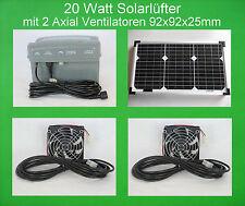20 W Solarlüfter mit 2 Axial Lüfter Ventilator Akku Batterie Solarventilator NEU