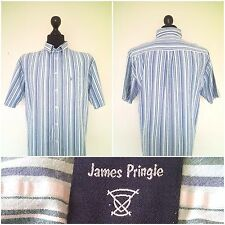 James Pringle Short Sleeve Stripe Shirt 100% Cotton Size: XL