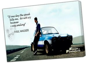Paul Walker Fast and Furious Picture Photo Print On Framed Canvas Wall Art Home