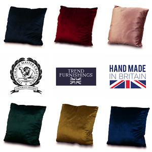 Velvet Soft Plush Cushion Covers 8 Colours Handmade in the UK