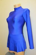Gymnastics Dance Ice Skating Blue Spandex Women Dress Leotard with Skirt Size S