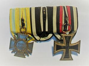 Orig.Militär Orden 1.WK 3er Ordensspange EK Eisernes Kreuz EK Frontkämpfer Punze