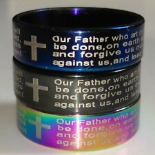 100 Bulk lots Wholesale Religious Jesus Men's Lord's Prayer Cross Ring Color Mix