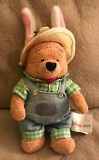 "Winnie The Pooh Bunny Farmer Bean Filled Plush Bearl 9"" Disney Stuffed Animal"