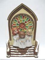 Vintage Christmas Ceramic Carolers Choir Stained Glass Church Window Byron Molds