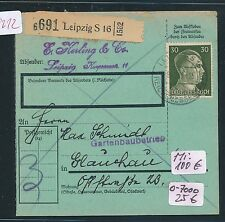 99212) Paketkarte, Postgutkarte ab Leipzig S16 1943, EF 30PF Hitler !!
