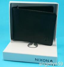 NIXON MENS REAL LEATHER WALLET Bi Fold  Black NEW In Nixon Gift Box