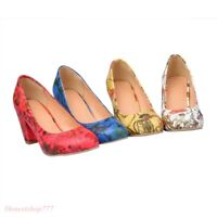 New Ladies Womens Flower Court Block Mid Heel Pumps Pattern Shoes All UK Size