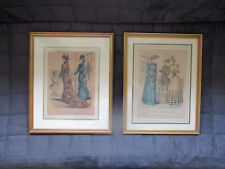 """Gravures polychromes, """"Journal des demoiselles"""", encadrées, XIXeme siècle."""