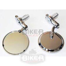 Specchietti Bar End tondi cromati moto Cafe Racer Bobber Custom manubrio Ø22