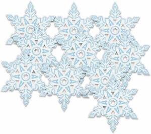 10 x Snowflake Cutout Decorations 13 cm Snowflakes Christmas / Frozen Party