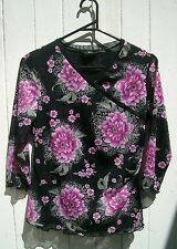 Gorgeous Zinc (ZN) Floral Top with 3/4 Sleeves, Neck Crossover, Stretch, Size M