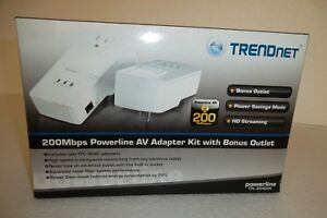 TRENDNet Powerline AV Home Networking Adapter Kit 200Mbps RJ-45 TPL-304E2K NEW