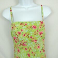 Moda International Dress Bright Green Size 2 Floral Print Empire Waist Sheath