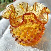 """Vintage Fenton Art Glass Amber Gold Hobnail Crimped Rim Rose Bowl Vase 4"""" USA"""