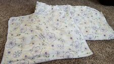 POTTERY BARN TEEN TWIN PURPLE YELLOW STITCHED FLORAL DUVET AND SHAM
