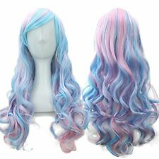 Adjustable Rainbow Colored Synthetic Fiber Long Curly Wavy Wig for Girls