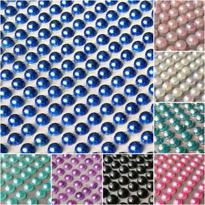 500 x 4mm Self Adhesive half PEARL pearls  flat back Sticky Rhinestone  Sticker