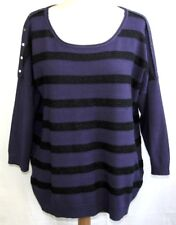 BREAL - PULL FIN MANCHES 3/4 MAILLE VIOLET & NOIR SCINTILLANT T 5 = 44 - TB ETAT