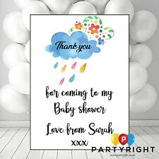 Personalised Rain Cloud Girl Or Boy Baby Shower Thank You Party Card - 10