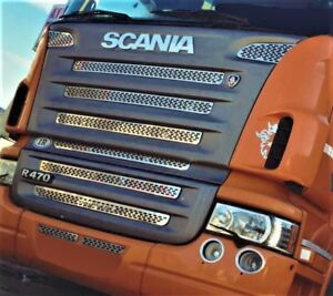 Scania 2004-2009 Radiator Grille Covers Super Polished Stainless Steel 10 Pcs