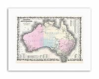 1861 JOHNSON AND BROWNING MAP AUSTRALIA 1ST EDITION Poster Vintage Canvas art