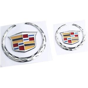 Front & Rear Wreath Crest Chrome Emblem Badge for Cadillac Escalade CTS SRX