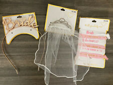 Bridal Shower Accessories 3 Piece: Headband, Hair Combs, & Hair Ties