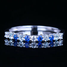 Full Cut Diamond Aquamarine Sapphires Ring 18k White Gold Handcrafted Jewelry