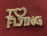 Vintage Brooch Pin Gold Tone Rhinestone I Heart Flying